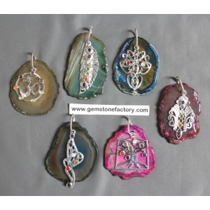 Agate Slab Pendants with Chakra Charms