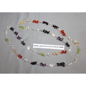 Chakra Chip Necklace with Spiral Separators