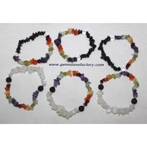 Chakra Rainbow Moonstone Lava/Tourmaline Bracelets