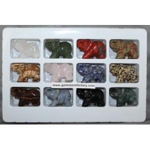 Elephants Assorted Gemstone Premium