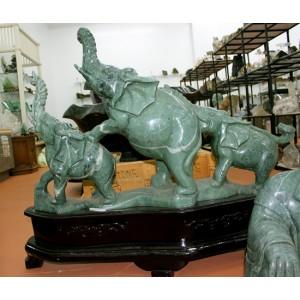Jade Elephants on Wood Base #984