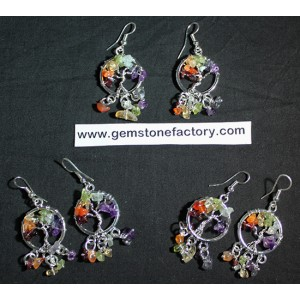 Chakra Tree of Life Earrings with Chips