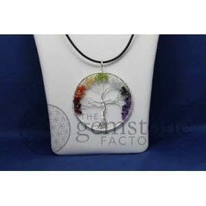 Chakra Tree of Life Pendant with Chips-Large