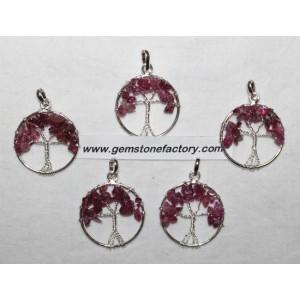 Tree Of Life Pink Tourmaline Sterling Pendant