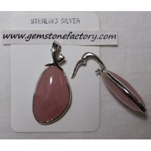 Sterling Rose Quartz Free-Form Pendant S15