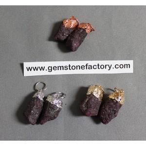 Ruby Rough Crystal Pendants