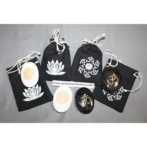 Scolecite/Larvikite Engraved Palm Stones