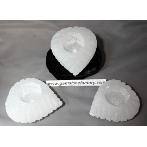 Selenite Carved Heart Candleholder