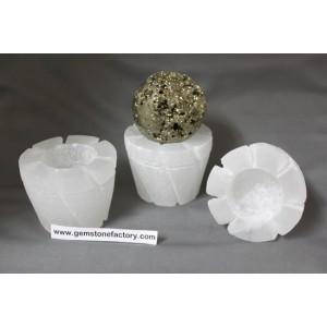Selenite Flower Pot Candleholders