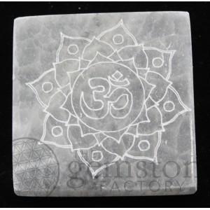 "Selenite Square Engraved 3"""
