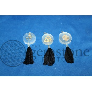 Selenite Symbol Disc with Tassel