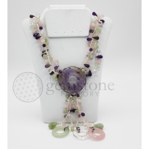 Amethyst, Rose Quartz, Aquamarine Necklace