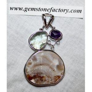 Sterling Agate Geode and Amethyst Pendant S21