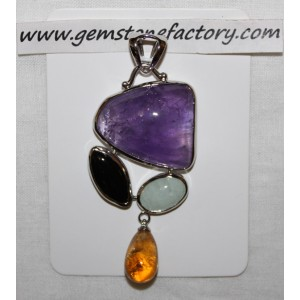 Sterling Amethyst with Citrine Drop Pendant S17