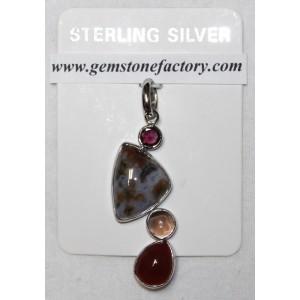 Sterling Ocean Jasper Four-Stone Pendant S20