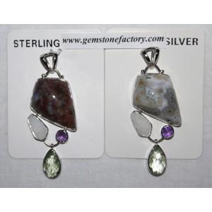 Sterling Ocean Jasper Pendant with Drop S23