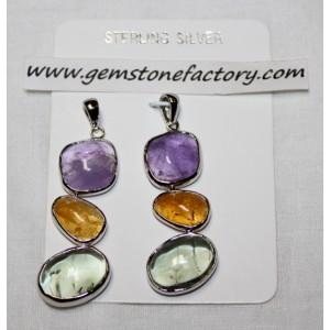 Sterling Three-Stone Pendant S10