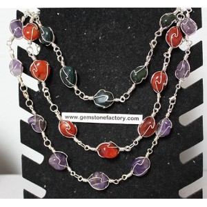 Premium Gemstone Wire Necklace Group #2