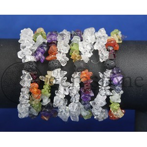 Chakra Quartz and Lava 2 Row Bracelet