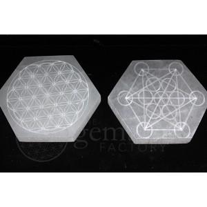 """Selenite Hexagon Engraved 4"""""""