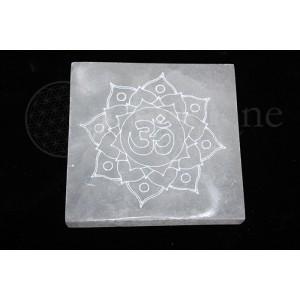 "Selenite Square Engraved 4"""